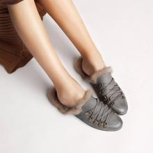 青婉田秋季毛毛鞋女1新款兔毛拖鞋女外穿懒人时尚穆勒鞋女平底X18QD1042