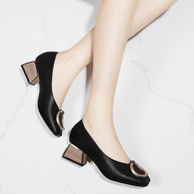 金絲兔新款潮女鞋子歐美時尚百搭性感中跟粗跟中年媽媽鞋女士單鞋