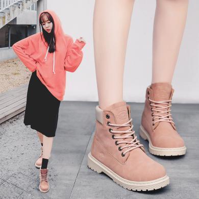 MIJI女鞋秋冬季马丁靴高帮鞋靴子女工装鞋大头鞋战狼YG8591