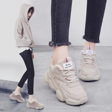 MIJI新款女鞋冬季老爹鞋?#29992;?#38795;高帮板鞋运动鞋韩版潮鞋YG889