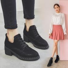 潮牌小短靴女新款秋冬网红百搭瘦瘦靴粗跟中跟踝靴平底短筒靴子女LP990-3