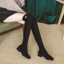 如熙秋冬新款長筒靴女過膝粗跟彈力靴中跟圓頭長靴韓版靴子女182DXLD4474