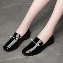 金丝兔新款秋季女鞋平底方头单鞋百搭韩版粗跟中跟小皮鞋夏银色鞋子