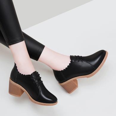 古奇天倫 單鞋女圓頭粗跟女單鞋系帶女單鞋中跟女鞋單鞋高跟鞋女 TL/9086