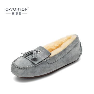 青婉田流苏豆豆鞋女新款皮毛一体保暖防滑棉鞋女冬加绒一脚蹬R18QD1044