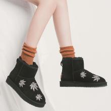 青婉田楓葉刺繡羊皮毛一體短靴女加絨新款套筒防滑雪地靴女冬R18DX1015