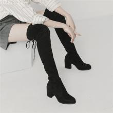 青婉田長靴女過膝高跟顯瘦青婉田新款瘦腿防掉筒春秋長筒靴女彈力靴X18DX1052