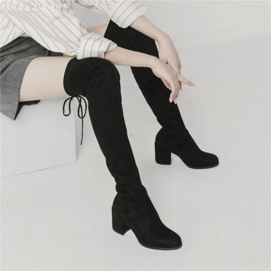 青婉田长靴女过膝高跟显瘦青婉田新款瘦腿防掉筒春秋长筒靴女弹力靴X18DX1052