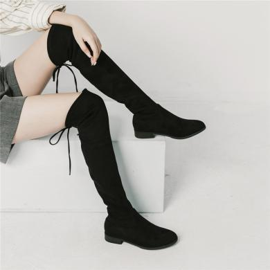 青婉田長靴女過膝平底青婉田新款瘦腿百搭時尚彈力靴長筒靴過膝靴女X18DX1050