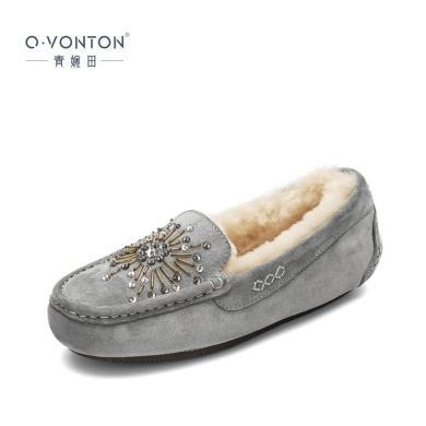 青婉田水钻棉鞋女冬加绒保暖新款平底皮毛一体毛毛鞋豆豆鞋女R18QD1045