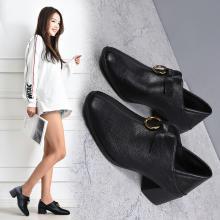 潮牌女鞋小皮鞋新款粗跟休闲仙女的鞋复古女鞋中跟春秋单鞋少女DX89011