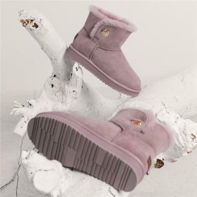 雪地靴女新款學生防滑保暖平底靴子女羊皮毛一體棉靴女冬加絨R18DX1016