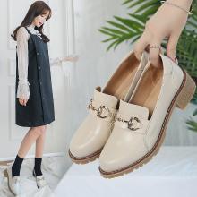 女单鞋平底英伦风耐磨Iins粗跟小皮鞋一脚蹬韩版学生女鞋MJL868