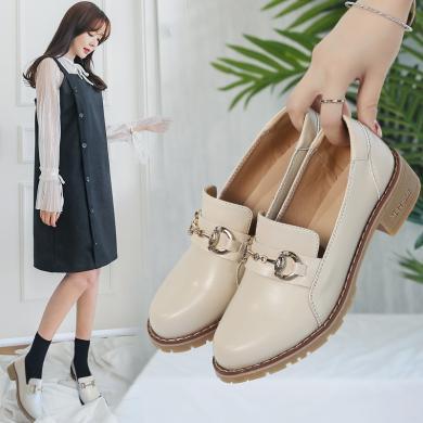 女单鞋平?#23376;?#20262;风耐磨Iins粗跟小皮鞋一脚蹬韩版学生女鞋MJL868