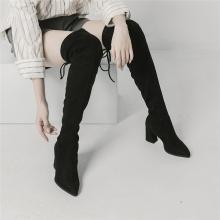 青婉田尖頭高筒靴女新款韓版顯瘦高跟系帶長筒靴女過膝長靴女X18DX1053