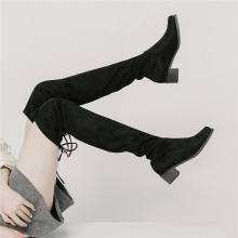 青婉田新款女長筒靴女過膝粗跟顯瘦彈力靴女靴子中跟長靴女秋X18DX1051