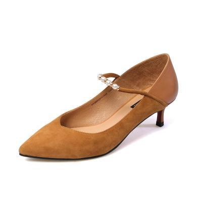 百田森PYQ80018 尖頭中跟細跟羊皮時尚串珠女鞋