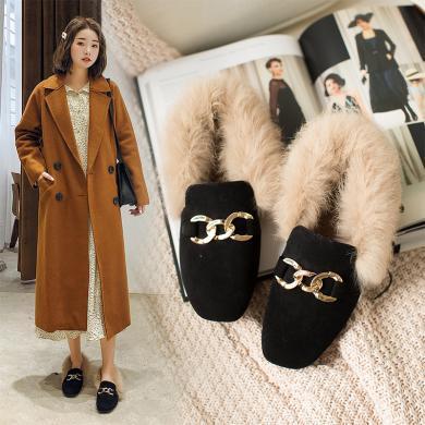 如熙鞋子女新款平底百搭网红毛毛鞋女冬外穿韩版加绒豆豆鞋女182DXAJ4776
