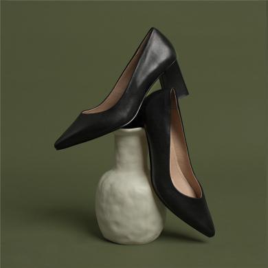 青婉田尖頭單鞋工作鞋女黑色皮鞋女職業粗跟高跟鞋女新款百搭Y19CD1150