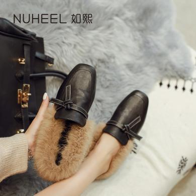 如熙毛毛鞋女新款秋冬季外穿网红豆豆鞋加绒手工棉鞋平底懒人鞋182DXJM4773