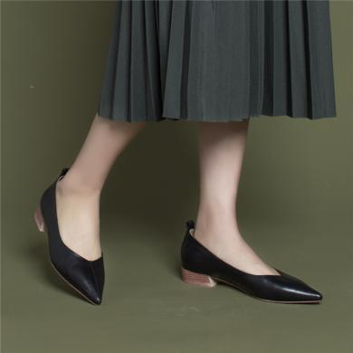 青婉田尖頭單鞋女新款淺口簡約工作鞋女黑色皮鞋女鞋百搭低跟Y19CD1165