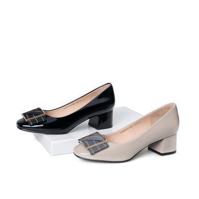 百田森 PYQ18622 舒適方頭金屬扣裝飾淺口女單鞋