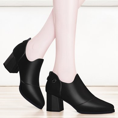 金絲兔女士皮鞋子女春季新款韓版圓頭防水臺高跟女鞋粗跟單鞋女鞋潮