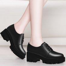 金丝兔春季新款粗跟女士皮鞋中跟厚底单鞋系带韩版百搭防水台女鞋子