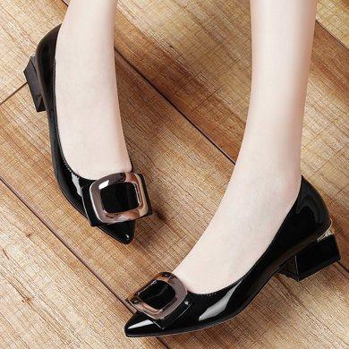 金絲兔春季新款尖頭韓版單鞋女淺口低跟小皮鞋女時尚休閑平底女鞋子