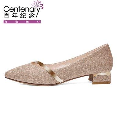 百年紀念春夏新款尖頭方跟低幫鞋淺口套腳單鞋防水臺女鞋子bn1672