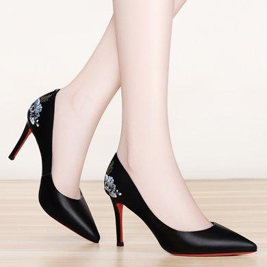 金絲兔秋冬季新款單鞋工作黑色職業高跟鞋細跟百搭小碼尖頭高跟女鞋
