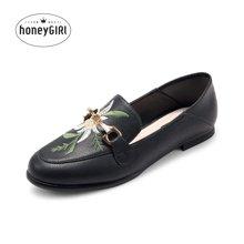 honeyGIRL2018春季新款女鞋绣花鞋乐福鞋平跟懒人鞋低跟休闲鞋子HG18SP05-XT502