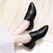 古奇天伦女单鞋 春季新款休闲单鞋尖头方跟低帮深口女鞋系带英伦范女单鞋 TL/8892