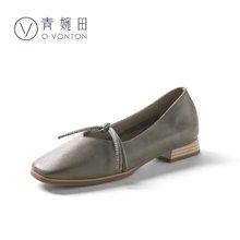 青婉田新款時尚文藝復古方頭奶奶鞋女低跟真皮套腳女單鞋淺口Y18CD0708
