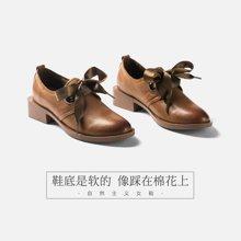 青婉田原宿小皮鞋女英倫風學生系帶單鞋女文藝軟妹森系復古女鞋S18CD0700