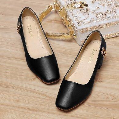 古奇天倫女鞋 方頭低幫女休閑單鞋金屬裝飾中跟休閑鞋防水臺女單鞋子 TL/8876