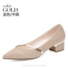 【下单立减】百年纪念新款尖头方跟低帮鞋浅口套脚单鞋防水台女鞋子bn1672