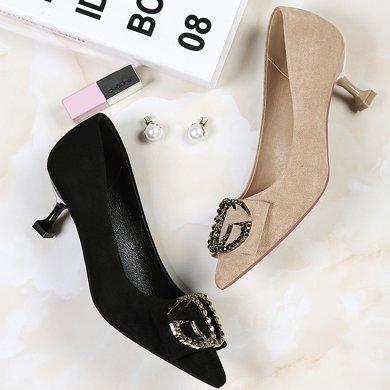 百年紀念 春夏新款尖頭異型跟低幫鞋淺口套腳金屬裝飾單鞋防水臺女鞋子bn1599