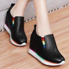 金丝兔女鞋小白鞋春夏季新款平底内增高乐福鞋坡跟休闲单鞋女