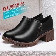 莱卡金顿 粗跟单鞋春季新款学院风女鞋学生皮鞋女韩版中跟百搭圆头鞋子 LK/6429
