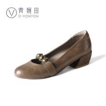 青婉田新款優雅文藝淺口單鞋女真皮復古瑪麗珍女鞋中跟休閑Y18CD0709