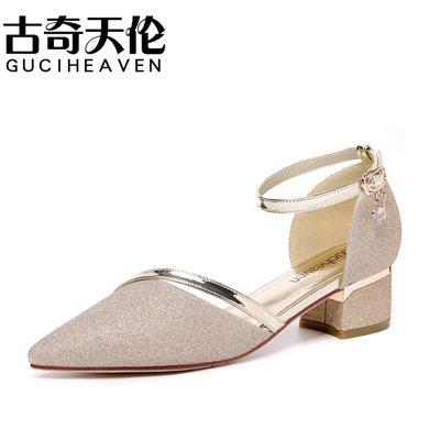 古奇天倫 2019夏季新款涼鞋尖頭淺口涼鞋一字扣帶女單鞋方跟休閑涼鞋 TL/8726