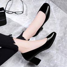 古奇天伦 方头粗跟女鞋2018春夏新款低帮浅口女鞋纯色女单鞋 TL/8841