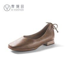 青婉田舒適休閑手工真皮女鞋文藝復古方頭奶奶鞋新款淺口單鞋Y18CD0706