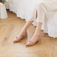 如熙春季新款單鞋尖頭平底鞋粗跟女鞋中跟淺口鞋子高跟鞋韓版182CDBJ3613
