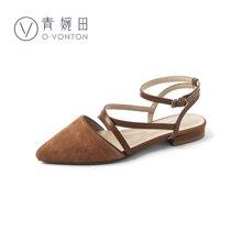 青婉田chic鞋子复古夏凉鞋新款软妹包头仙凉鞋女夏真皮尖头X18XL0820