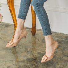 如熙春季新款高跟鞋單鞋細跟百搭珍珠蝴蝶結女鞋淺口尖頭鞋子183CDBJ3179