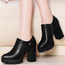 金絲兔厚底皮鞋女冬新款深口鞋子防水臺春季單鞋黑色女鞋高跟鞋粗跟