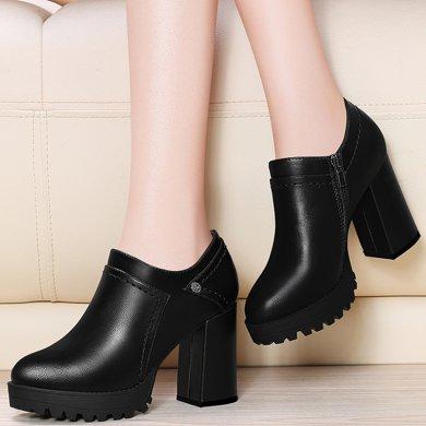 金丝兔厚底皮鞋女冬新款深口鞋子防水台春季单鞋黑色女鞋高跟鞋粗跟