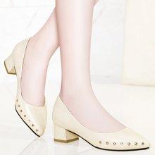 金絲兔中跟單鞋女春季新款淺口鞋子女粗跟皮鞋尖頭鉚釘女鞋工作鞋潮